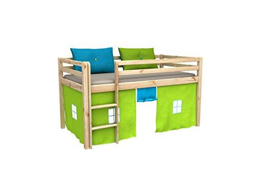 Cama de juego,cama para niños,de alta,cama con cortinas,colchón,somier,blanco,muchos colores