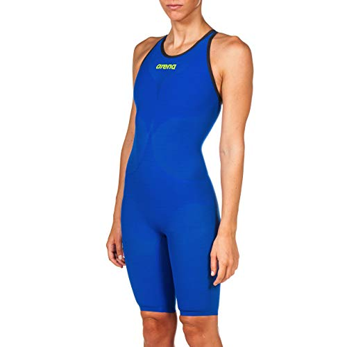 ARENA Damen Powerskin Carbon Air² Closed Back Racing Badeanzug, Damen, einteilig, Powerskin Carbon Air² Fbsl Women's Closed Back Racing Suit, Electric Blue/Dark Grey/Fluo Yellow, 32