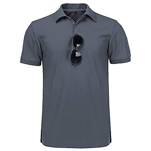 Camiseta táctica para hombre Polo Cool y de secado rápido absorbente de sudor color block manga corta deportes golf tenis camiseta, azul, L
