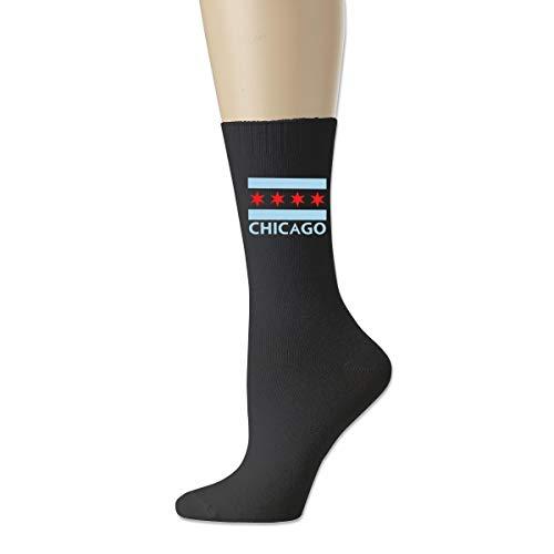 Calcetines atléticos de la novedad, calcetines respirables de la compresión de la bandera de Chicago City