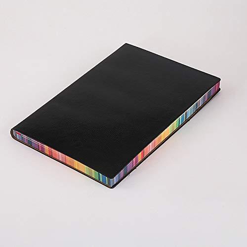 A5 Notebook-Pu Estudiante Notebook Business Notebook Negro Marcador Ordinario Color Lado 14.5 * 21