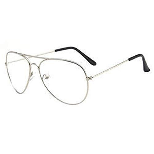 Marco de gafas con estilo Gafas de sol estilo aviador Unisex con montura metálica Lente transparente Gafas vintage Gafas retro lisas Gafas para hombres y mujeres - Plateado Variedad de estilos