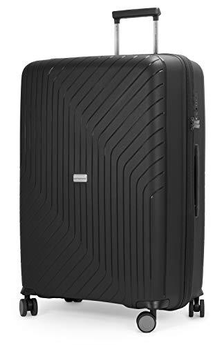 HAUPTSTADTKOFFER- TXL - extra lichte koffer met harde schaal, grote koffer voor inchecken 76 cm, ruimbagage van stevig polypropyleen, zwart