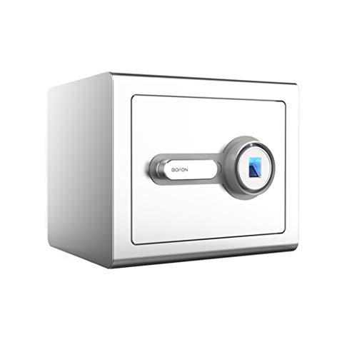 GLLP - Caja de seguridad antirrobo de acero para el hogar o la oficina, con huellas dactilares, color plateado brillante