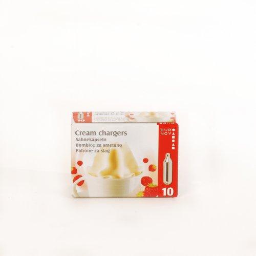 Euronova 90117 Confezione 10 Bombolette Panna Nova, Aacciaio Inossidabile, Argento