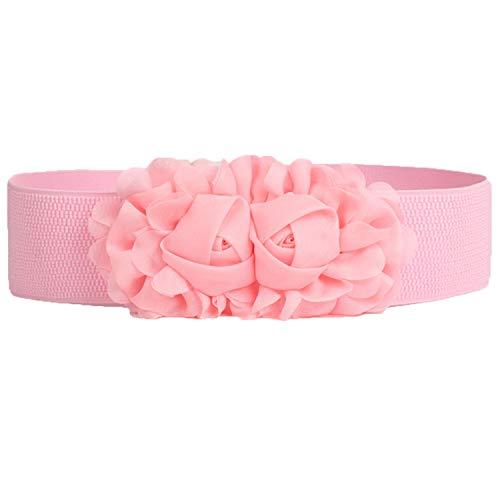 Andongnywell Women's Belt Flower Wide Elastic Waist Ladies Elastic Wide Flower Waist Belts for Dress Waistband (Pink,One_Size)