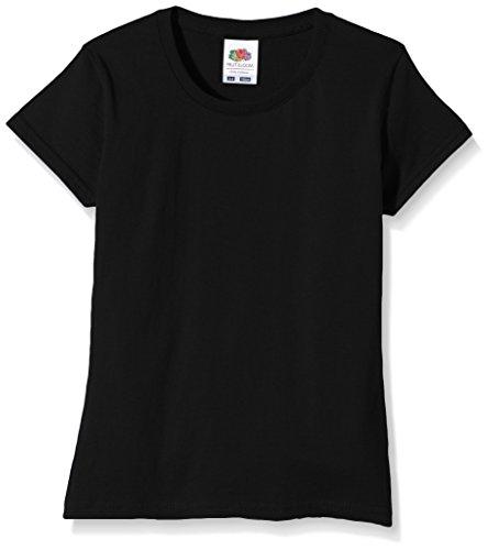 Fruit of the Loom Sofspun, Camiseta para Niñas, Negro, 3-4 Años (104 cm)