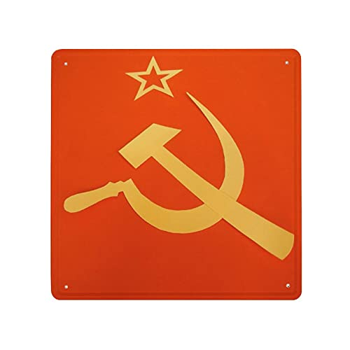 DECISAIYA Poster Targhe in Metallo Bandiera del CCCP Comunista con Falce e Martello,Simboli del Comunismo Targa Pittura Idea Regalo per Casa Cafe Bar Pub Design Retro per Decorazione 30x30cm