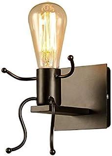 Luz de la pared E27 Creative Lámpara de Hierro Forjado Humanoide Negro Para Dormitorio, Restaurante, Corredor