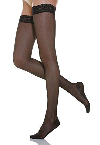 Relaxsan Basic 870 (Nero, tg.4) calze elastiche autoreggenti 140 den compressione graduata