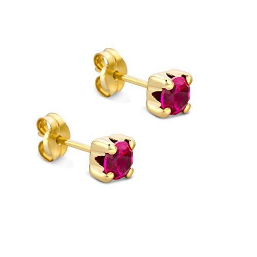 Orovi Schmuck Damen runde Ohrringe mit Edelstein/Geburtsstein Rubin in Rot Ohrstecker aus Gelbgold 9 Karat / 375 Gold