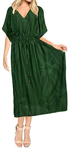 LA LEELA Mujeres Caftán Rayón túnica Tie Dye Kimono Libre tamaño Largo Maxi Vestido de Fiesta para Loungewear Vacaciones Ropa de Dormir Playa Todos los días Cubrir Vestidos Verde_J784