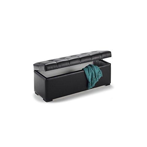 duehome Baúl arcón elevable tapizado en símil Piel, Puff Taburete (100 cm, Negro)