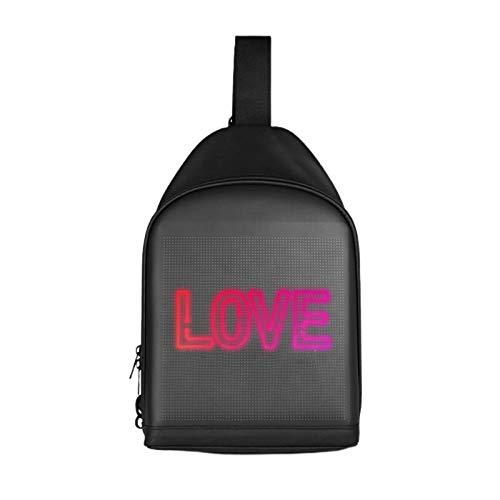 energeti Sling Bag, Smart LED Backpack USB Charging Screen Chest Bag Customizable Crossbody Bag For Hiking Cycling Travel For Man Women Girl