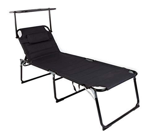 Mojawo XXL Gartenliege Sonnenliege Relaxliege Liege Aluminium mit Kissen gepolstert klappbar Schwarz L200xB70xH45/95cm Belastbar bis 150kg
