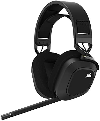 Corsair HS80 RGB WIRELESS Auriculares Premium para Juegos con Dolby Atmos Audio (Baja Latencia, Micrófono Omnidireccional, 18m Alcance, Hasta 20 Horas Autonomía, Compatibilidad PS5 PS4) Carbón