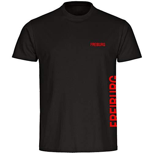 Multifanshop Herren T-Shirt Freiburg seitlich - Schriftzug auf der Brust und auf der Seite - schwarz - Größe S bis 5XL - Fußball Fanartikel Fanshop,Farbe:schwarz,Größe:L