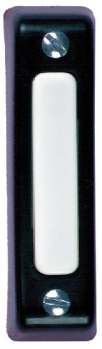 Heath Zenith SL-900-02 Wired Door Chime Push Button, Black with White Center Bar