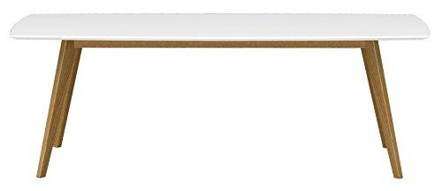 tenzo BESS Table de Salle à Manger rectangulaire, Plateau en Panneaux MDF ép. 25 mm laqués. Piètement Massif huilé, Blanc/Chêne, 75 x 220 x 95 cm (HxLxP)