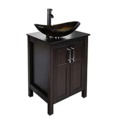 24 inch Bathroom Vanity Set - Combo MDF Sink Cabinet Vanity with Counter Top Glass Vessel Sink Vanity and 1.5 GPM Faucet (Single Vanity+Oval Golden Sink)