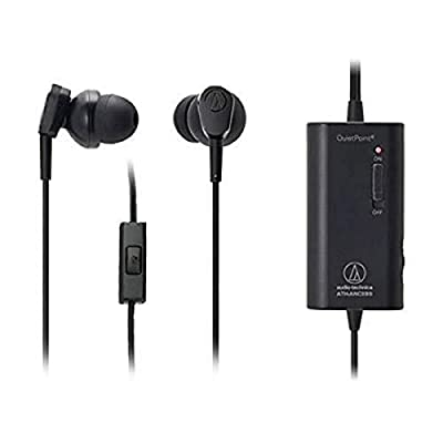 Audio-Technica ATH-ANC33IS Active noise cancelling in-ear headphones with Remote and Mic by Audio-technica