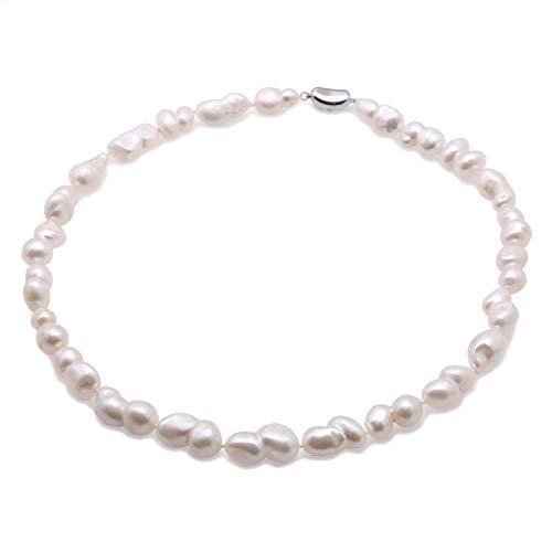 JYX Collar de perlas blancas barrocas de agua dulce único blanco natural, collar de 18 pulgadas