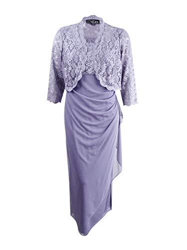 Alex Evenings Women's Plus Size Long Bolero Dress, Pure Orchid, 16W