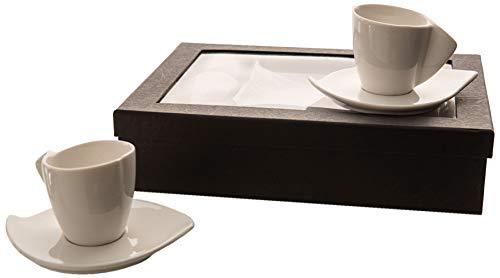 Amadeus - Coffret 6 tasses 100 ml porcelaine avec sous tasses vague