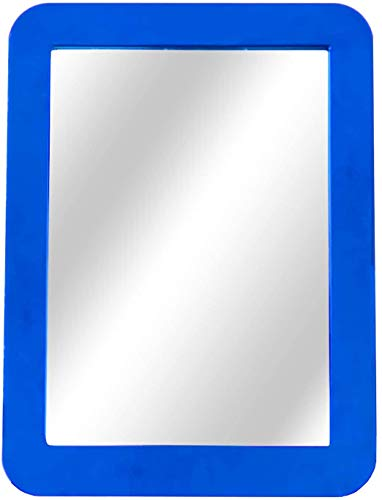 Magnetic Locker Mirror for School, Home, Gym, Office Cabinet or Refrigerator 5' x 7' Color Framed (Blue)