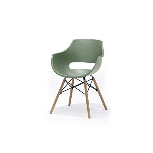 MCA - Rockville Kunststoff Schalenstuhl - Grün, 4 Fuß, Holz/Klar