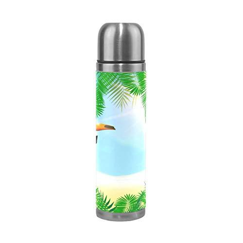 Emoya Bouteille isotherme en acier inoxydable avec feuilles de palmier Vert tropical 0,5 l