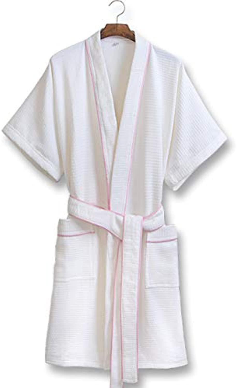 Bathrobe Embroidered Bathrobe Hotel Shawl Bath Towel Cotton Bathrobes Nightgown Pajamas   Powder Edge (Size   XXL)