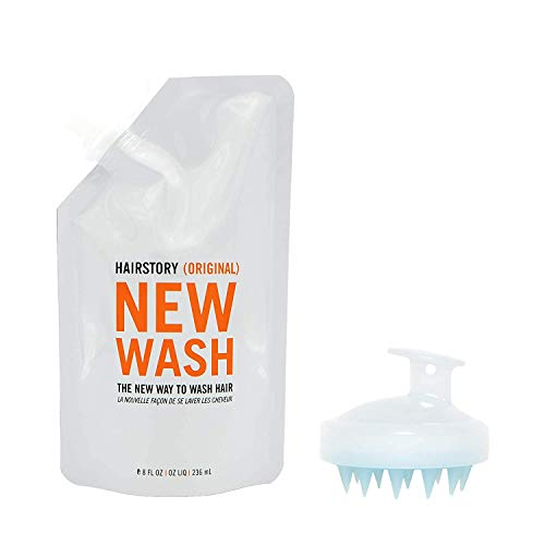 New Wash Original Hair Cleanser & Conditioner, 8oz Pouch + Scalp Brush, Cruelty-Free Formula Removes Excess Oil, Protects Color & Eliminates Frizz, Natural Ingredients, Sulfate & Paraben Free