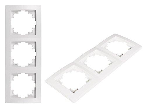 VARIATION Lichtschalter Schalter Taster Wechsel-Serien-Schalter Jalousie-Schalter Dimmer Antennen-Dose ISDN-Steckdose für RJ45 + RJ11 (UNIVERSAL Plastik-Rahmen 3-fach 220x80x8 mm WEISS)
