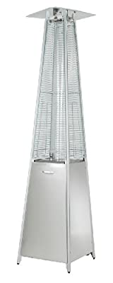 Hiland HLDS01-GTSS Quartz Glass Tube Patio Heater, 40,000 BTU, Stainless Steel, Pyramid, Silver