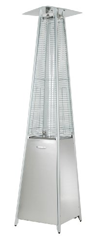 Hiland HLDS01-GTSS Quartz Glass Tube Patio Heater, 40,000 BTU, Stainless Steel, Pyramid, Silver
