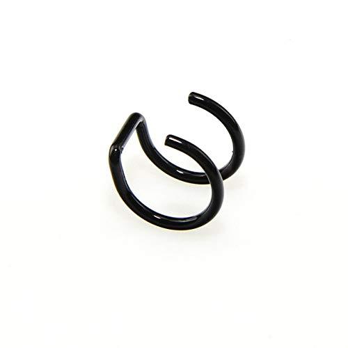 OYZK 1PCS Clip en el Abrigo Pendiente Tragus Anillos del Acero Inoxidable 2 Ear Cuff Pinza en la Nariz del Anillo Falso joyería Piercing del Cuerpo Dilataciones Falsas (Metal Color : Negro)