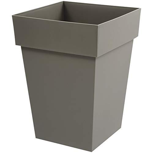 EDA Plastiques Pot TOSCANE carré taupe - 39 x 39 x 53 cm - 51 L