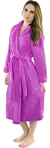 NY Threads Womens Fleece Bathrobe - Shawl Collar Soft Plush Robe Spa Robe (Small, Purple)