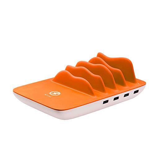 XLayer Powerbank Family Wireless Charger Maxi, Mulit-Charger Tischladestation mit induktiver Ladefläche für bis zu 5 Geräte, 4-Port USB Ladegeraet, Weiß-Orange