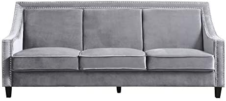 Best Iconic Home Camren Sofa Velvet Upholstered Swoop Arm Silver Nailhead Trim Espresso Finished Wood Leg