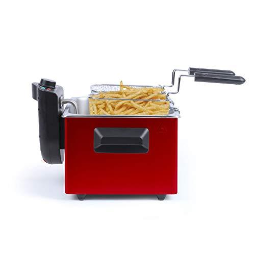 Friteuse avec huile 5 l - Double friteuse récipient en acier inoxydable amovible 5 litres - Puissance élevée 2000 W thermostat - environ 1 kg de frites