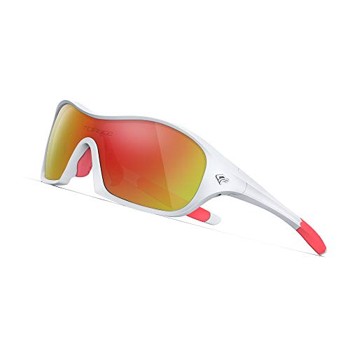 TOREGE Polarized Kids Sports Sunglasses Cycling Running Baseball Golf for Boys Girls Age 3-6 TR17 (White&Red&Red lens)