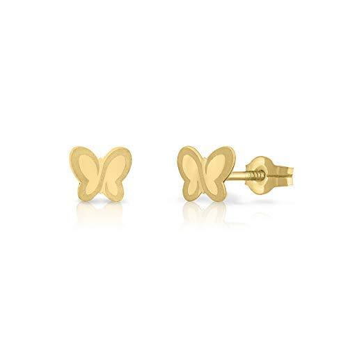 Pendientes oro 18k, para bebe recién nacida, niña o mujer diseño mariposa ideal para recién nacida. 4-5-6 mm (6 mm - presión)