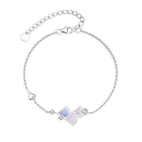 hongbanlemp Pulseras para mujer simple pulsera creativa de plata de ley 925, pulsera de temperamento para niña, joyería de moda, longitud ajustable, pulsera