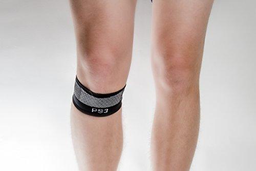 Orthosleeve® PS3 Patellasehnen- Kniegurt| Schwarz Größe XL | Exklusive Kompressionstechnologie® mit 3 Zonen | Schmerzlinderung bei Springerknie, Schwellung & Arthritis, lockerer Kniescheibe| Leicht | Regt die Durchblutung an