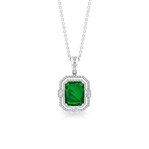Colgante de esmeralda de 2,31 ct con forma de octágono creado en laboratorio, 0,55 ct IGI certificado de corte princesa, collar de claridad de color HI-SI,18K Oro blanco Con cadena