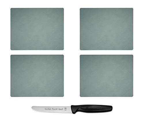 Lind DNA Tischset Square L, Pastellgrün - 4 Stück - plus ultrascharfes, langlebiges Kochen Macht Spaß Vespermesser im Set