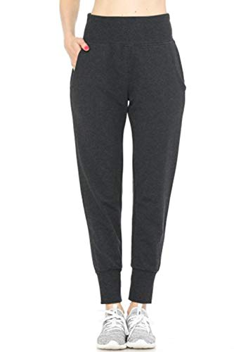 LE3NO Womens Casual Active French Terry Jogger Pants with Pockets, Charcoal, Medium