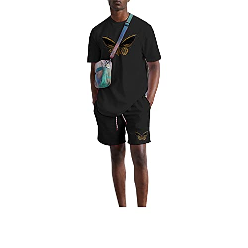 Camisa Correr Conjunto Hombre Verano Casual Deporte Al Aire Libre Urbano Moderno Camiseta Hombre Estampado Moda Pantalones Cortos Y De Manga Corta para Hombre Conjunto De 2 Piezas E-Black2 S